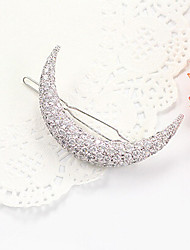Lucky Doll Women's Elegant 925 Silver Plated Cubic Zirconia Moon Hair Clip