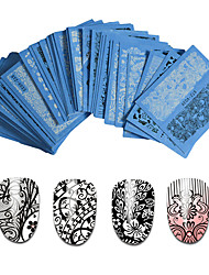 48pcs Nail Sticker 2015 White Black Water Decal Sexy Lace Flower for DIY tips nails Styling Tools Nail Decorations