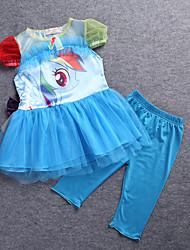 Conjunto de Ropa Chica de - Verano / Primavera / Otoño - Algodón - Azul / Rosa