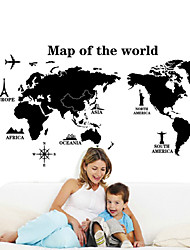 Wall Stickers Wall Decals, Style Black Map Of The World PVC Wall Stickers