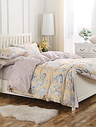 Simple Opulence100% Cotton Coconut Button Light Yellow Printed Stripe King Queen French Countryside Duvet Cover Set