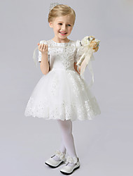 A-Line Short / Mini Flower Girl Dress - Satin Tulle Short Sleeves Jewel Neck with Ribbon by XMF