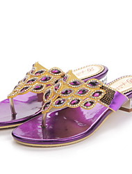 Women's Shoes Leather Low Heel Slippers Sandals / Slippers Party & Evening / Dress / Casual Purple / Gold