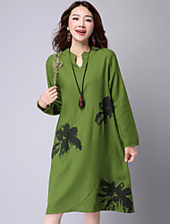 Women's Casual/Daily Vintage Loose Dress,Print V Neck Knee-length Long Sleeve Red / Green / Purple Cotton / Linen Summer
