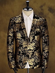 Men's Print Casual Blazer,Cotton Long Sleeve Black / Gold / Red