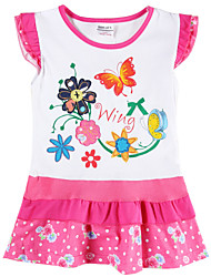 Girl's Dress Summer Flower Embroidery Floral Dress Short Sleeve Children Dresses(Random Printed)