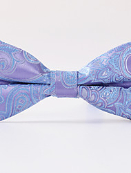 Light Purple Cashew Flower Jacquard Bow Tie