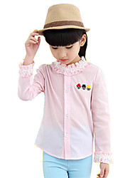 Girl's Pink / White / Yellow Shirt,Ruffle Cotton Spring / Fall