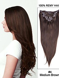 18inch 7pcs straight remy haar clip in hair extensions # 4-middenbruin