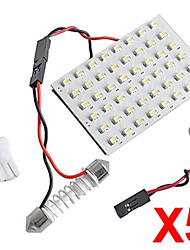 5 en 1 3528 smd led panneau 48 blanc led + t10 / module BA9S + double pointe (dc 12v)