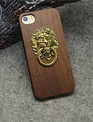 For iPhone 5 Case Ring Holder Case Back Cover Case Animal Hard Wooden iPhone SE/5s/5