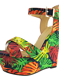 Women's Shoes Silk Wedge Heel Wedges / Platform Sandals Party & Evening / Dress / Casual Black and White / 1#