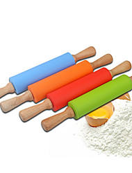 8'' Silicone Rolling Pin Medium Size Dia.5.3cm x L 38cm Food Safe Silicone Material and Wooden Handle Random Colors