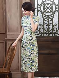 De las mujeres Corte Bodycon Vestido Vintage Floral Midi Escote Chino Lino
