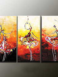 Hand-Painted Abstract Portrait Modern Oil Painting , Canvas Three Panels