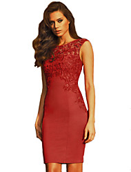 Women's Sexy  Club Solid Bodycon Embroidery Tight Dress , Round Neck Above Knee Cotton  Polyester Spandex