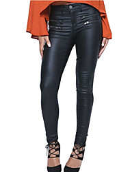European and American low-waist Slim feet Women explosion models double zipper PU leather pants