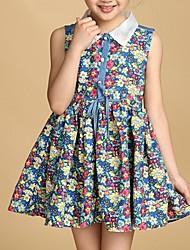 Menina de Vestido Algodão Verão / Primavera Azul / Amarelo