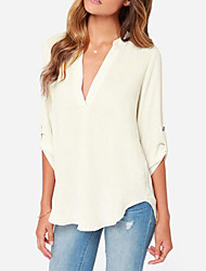 Women's Solid White T-shirt , V Neck Long Sleeve