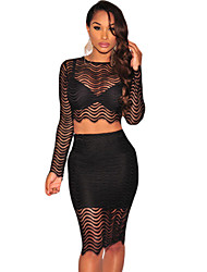 Women's  Black Lace Long Sleeves Two Pieces Skirt Set