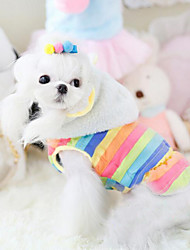 Dog Hoodie Yellow / Multicolored Winter Stripe Fashion