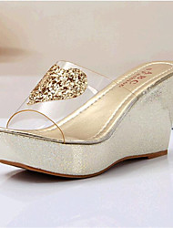 Women's Shoes Leatherette Wedge Heel Wedges / Slippers Sandals Casual Silver / Gold