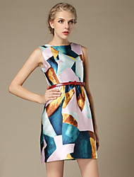 Women's Work Sheath Dress,Print Round Neck Above Knee Sleeveless Multi-color Polyester Summer