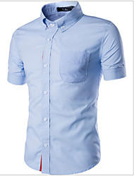 Men's Short Sleeve Shirt , Cotton Casual Print