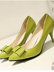 Women's Shoes Leatherette Spring / Fall Heels Party & Evening Stiletto Heel Bowknot Black / Green / Purple / Red