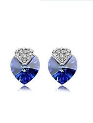 Full Crystal Earrings Stud Earrings for Women Cute Heart Earrings Fashion Jewelry Accessories