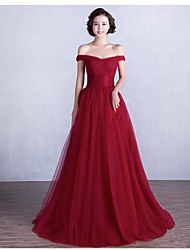 Formal Evening Dress - Burgundy Ball Gown Off-the-shoulder Floor-length Satin / Tulle