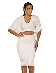 Women's  Cape Style Cropped Top with Midi Skirt
