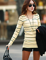 Women's Striped / Color Block Beige / Gray T-shirt , Round Neck Long Sleeve