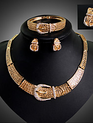 Lucky Doll Women's Vintage 18K Gold Plated Rhinestone Tassel Necklace & Earrings & Bracelet & Ring Jewelry Sets