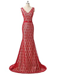 Formal Evening Dress Sheath / Column V-neck Court Train Lace with Lace / Sash / Ribbon / Sequins