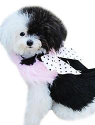 Dog Harness / Leash Keep Warm Bowknot Black / Pink Textile