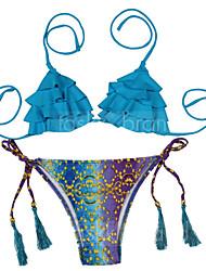 Bikinis Aux femmes Fleur / Franges Sans Armature Bandeau Nylon / Polyester