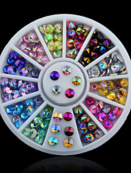 Colorful Sharp Crystal AB 3d Nail Rhinestone Wheel Shiny Glitter Nail Art Tips Decoration Tools