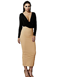 Women Two-Piece Dress Deep V Neck Ruffle Long Sleeve Crop Top High Waist Skirt Set
