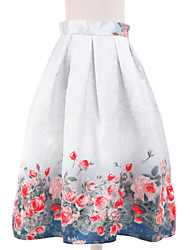 Women's Floral Blue Skirts,Simple Knee-length