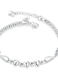 Lureme® Simple Silver Plated Jewelry Heart with Wings Charm Bracelets for Women