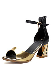 Women's Shoes Cowhide Chunky Heel Heels / Peep Toe / Ankle Strap Sandals Party & Evening / Dress Silver / Gold