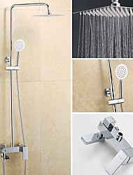 YOODOO®Square Thin Pressurize Shower Chrome Finished 8 Inch In Wall Shower Set with Shower Head and Hand Shower