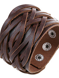 Fashion Wide Weave Cutting Leather Bracelets