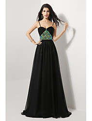 Formal Evening Dress Sheath / Column Spaghetti Straps Sweep / Brush Train Chiffon with Bow(s) / Crystal Detailing