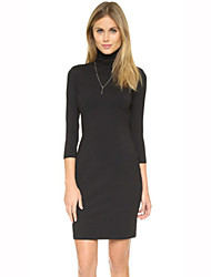 Women's Casual / Day Solid Sheath Dress , Turtleneck Knee-length Spandex