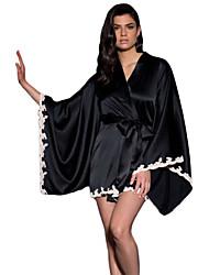 Black Silky Kimono Sleepwear