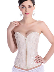 Strapless  Jacquard Overbust Sexy Corset Zipper Bustier Waist Training Corsets Women Corpetes Gothic Clothing