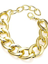 Simple Generous Women's Gold Plated Revolve Chain & Link Bracelet(Gold,White)(1Pc)