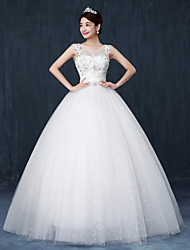 Ball Gown Wedding Dress Floor-length Scoop Lace / Satin / Tulle with Crystal / Sequin